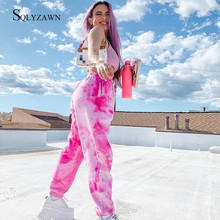 Streetwear Pink Tie Dyeing Sweatpants Women Summer Casual Joggers High Waist Loose Female Trousers L
