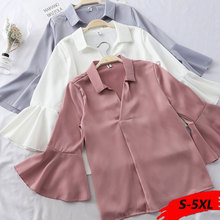 Plus Size Satin Shirt Long Flare Sleeves Satin Blouse Women Work Office Tops Woman Blouses Shirts Kimono womens blouses korean grid pattern long sleeves blouses