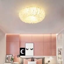 Скандинавский потолочный светильник с перьями светодиодное освещение
