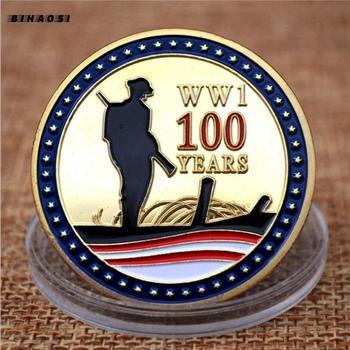 Moedas comemorativas o 100th aniversário do armistício da primeira guerra mundial ouro chapeado insignia medalhão comemorativo collectio