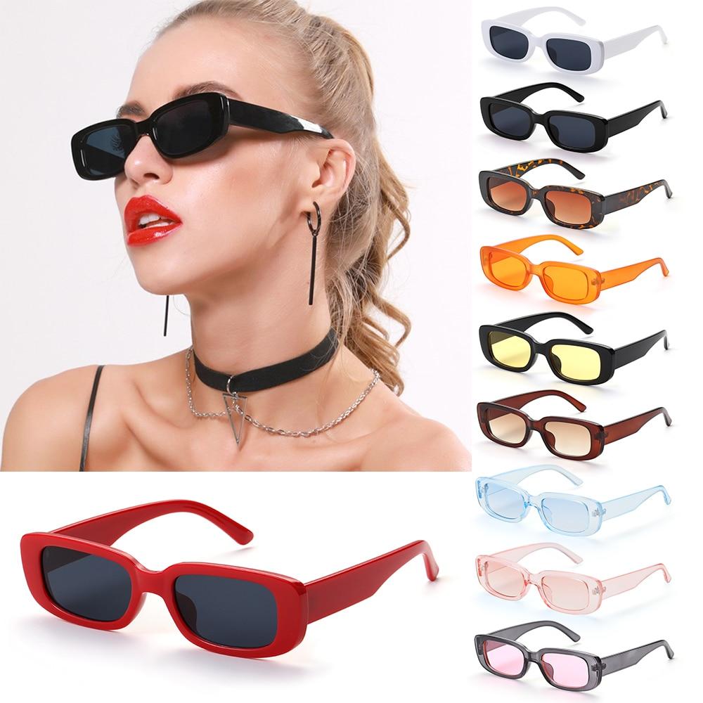Occhiali da sole da donna retrò montatura rettangolare piccola occhiali da sole protezione UV400 occhiali da viaggio estivi occhiali da spiaggia alla moda 2