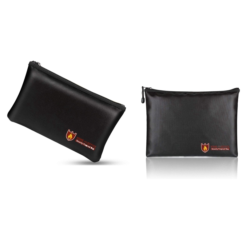 2 Pcs Fireproof Document Bags, A4 Size Waterproof And Fireproof Bag With Fireproof Zipper For IPad, Money, Jewelry, Passport, Do