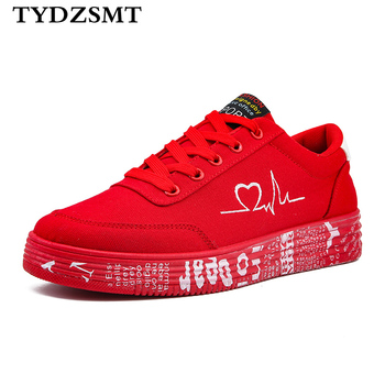 TYDZSMT 2020 moda kobiety buty wulkanizowane trampki damskie sznurowane obuwie oddychające płócienne buty dla zakochanych Graffiti Flat tanie i dobre opinie Konopi Wiosna jesień Dla dorosłych Niska (1 cm-3 cm) Pasuje prawda na wymiar weź swój normalny rozmiar Lace-up Stałe