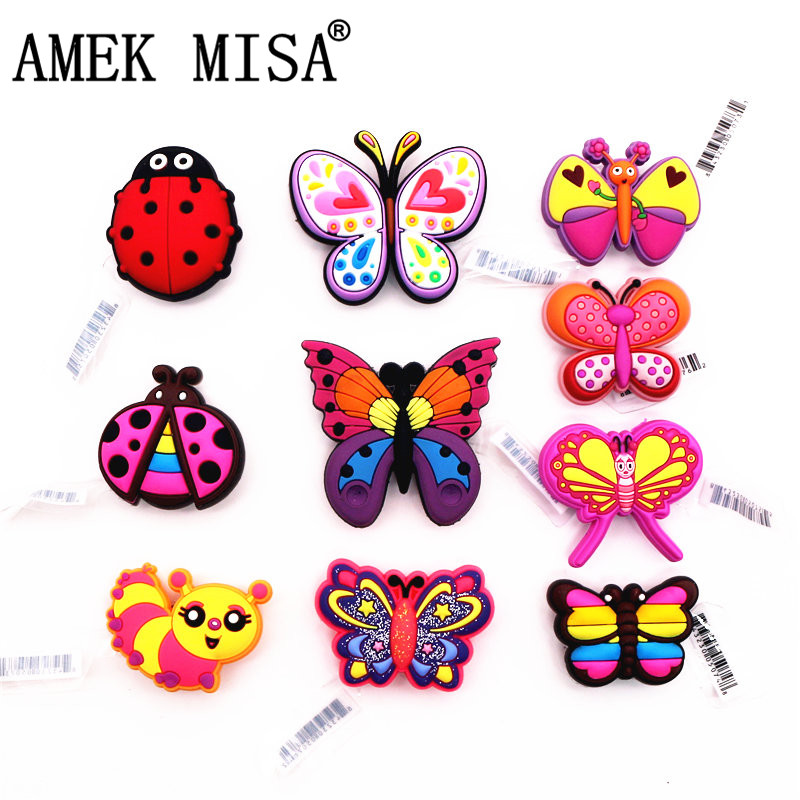 High Imitation Butterfly&Ladybug Shoe Accessories Novelty 1pcs Garden Shoe Original Charms Decorations Fit Croc JIBZ Kids Gifts