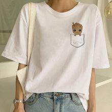 Забавная модная футболка с героями мультфильмов, укороченная женская футболка в стиле Харадзюку, Милая Сексуальная футболка с принтом грут...