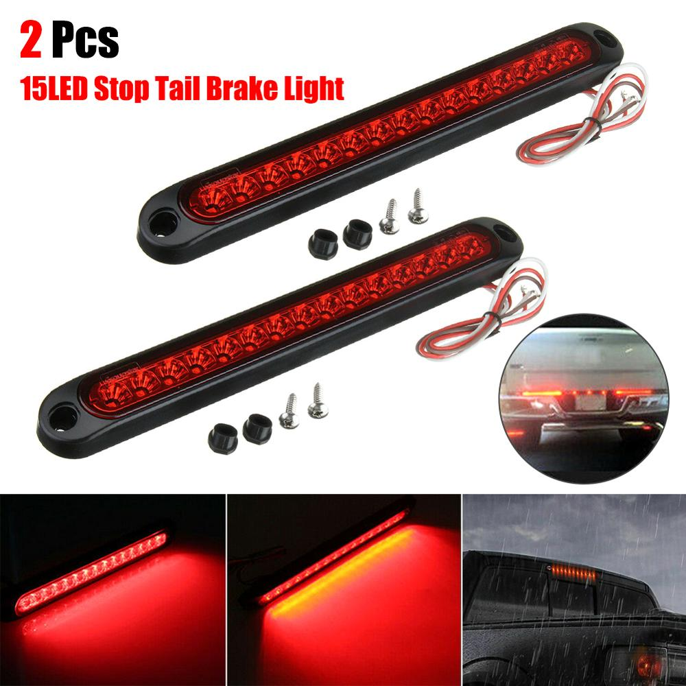 2Pcs Ultra-Slimline LED Strip Signal Lamp Trailer Stop Tail Lights 15LED Trailer Truck RV Stop Turn Signal Brake Rear Tail Ligh