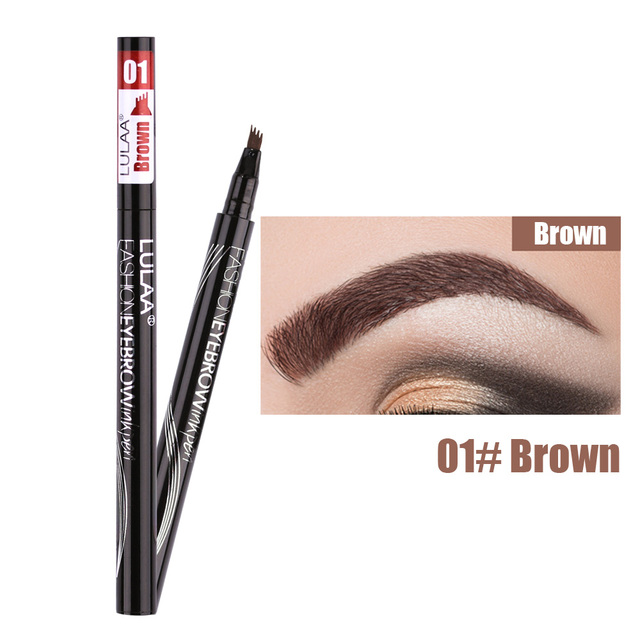 Waterproof Natural Eyebrow Pen Four-claw Eye Brow Tint Makeup three Colors Eyebrow Pencil Brown Black Grey Brush Cosmetics 3
