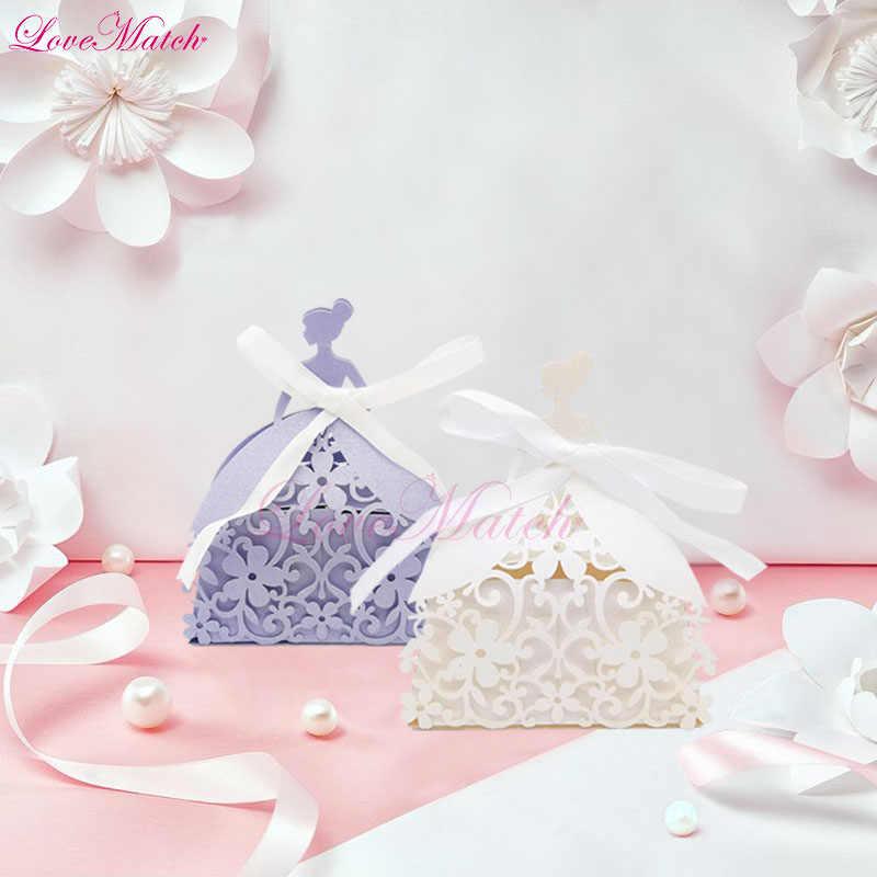 50 stücke Laser Cut Bräutigam Candy Box Spitze Blume Geschenk Box Hochzeit Gunsten Partei Schokolade Box Party Dekoration und liefert ehe