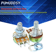 5PCS 10K ohm WH148 B10K 3pin Potentiometer 15mm Shaft With Nuts And Washers Hot