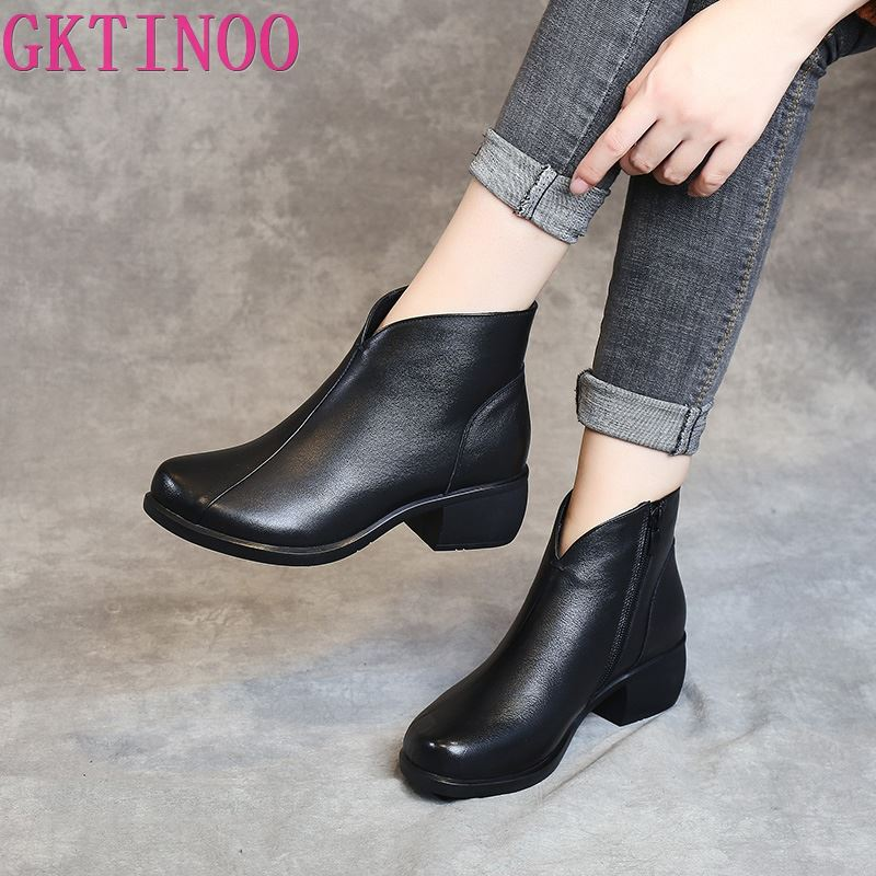 GKTINOO Autumn Winter Women Boots Genuine Leather Thick Heels Ankle Boots For Women Shoes Retro Warm Zipper Short Boots