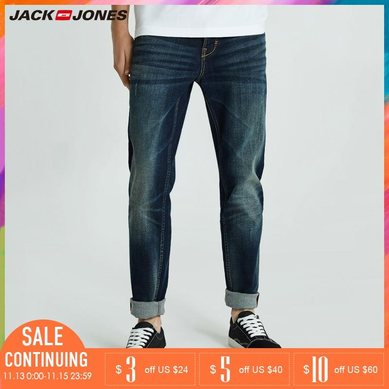 Jack Jones 2019 Men Jeans Long Casual Jeans Pants Cotton Solid Straight Biker Jeans Men Washed Denim Jeans |218332558