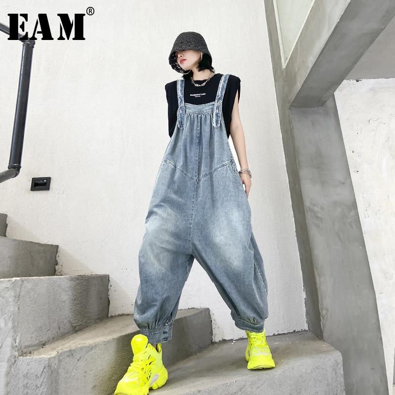 [EAM] High Waist Blue Long Denim Wide Leg Overalls Trousers New Loose Fit Pants Women Fashion Tide Spring Summer 2020 1U845