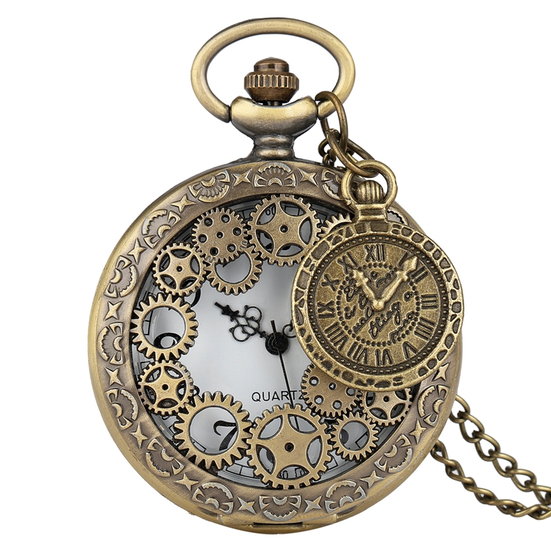 Bronze Hollow Gear Quartz Pocket Watch Vintage Antique Copper Steampunk Necklace Pendant Clock Chain Men Women With Accessory