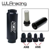 Wlr racing pqy 44mm novo filtro de combustível com 2 pces an6 e 2 pces an8 acessórios de adaptador com 60 mícrons elemento de aço wlr5565|filter nd|filter fuel|filter micron -