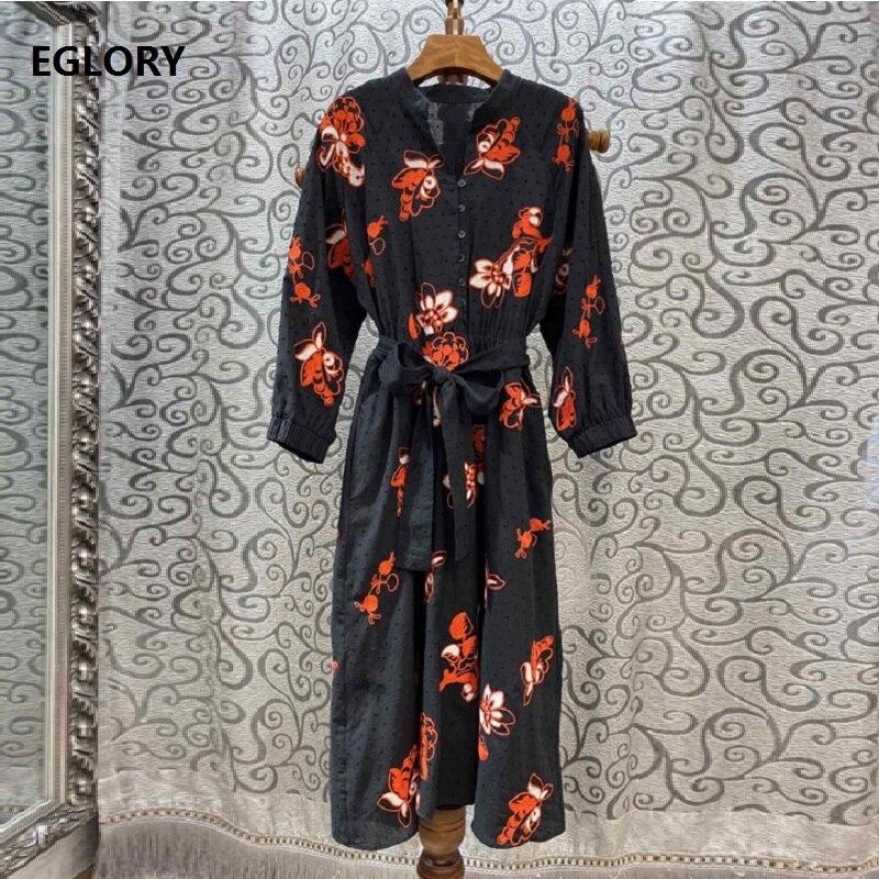 100% coton robe 2019 automne Style femmes v-cou élégant Floral broderie mi-mollet décontracté partie Vintage robe ceintures