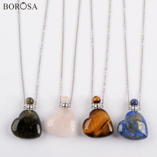 Gems Stones Perfume Bottle Heart Necklace in Gold Silver Color Agates Crystal Essential Oil Necklace Charms for Women WX1616 недорого