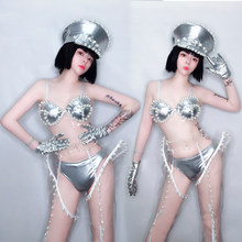 Sexy Jazz Dance Costumes Women Silver DJ Pole Dance Stage Rave Outfit Gogo Dancers Performance Clothing Nightclub Clothes DC3124(China)