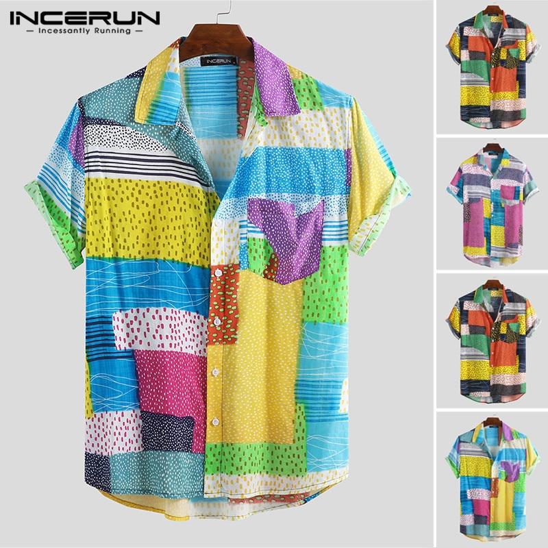 Casual Mens Hawaiian Shirt Printed Lapel Neck Breathable Short Sleeve Streetwear Camisa Vacation Beach Men Shirts 2019 INCERUN