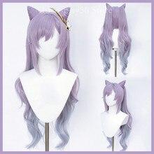 Genshin impacto keqing peruca orelhas cosplay gradiente roxo longo encaracolado rabo de cavalo resistente ao calor do cabelo adulto halloween role play ac