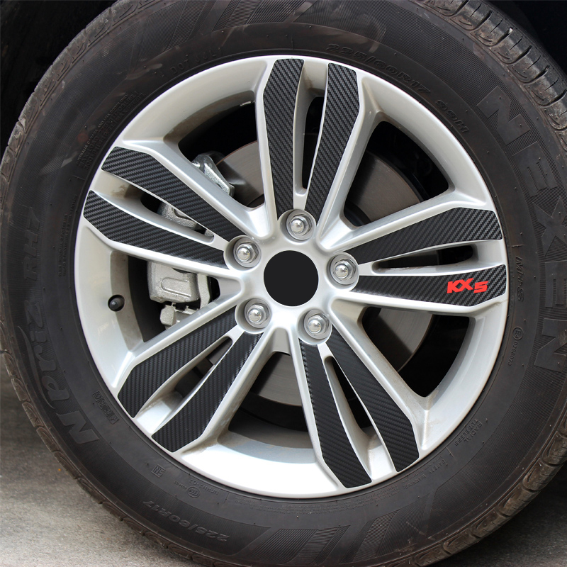 Carbon Fibre Vinyl <font><b>Car</b></font> <font><b>Wheel</b></font> Hub Sticker Strip Rim Care Protector Decal Trim For <font><b>KIA</b></font> <font><b>Sportage</b></font> 4 2016 2017 2018 2019 Accessories image