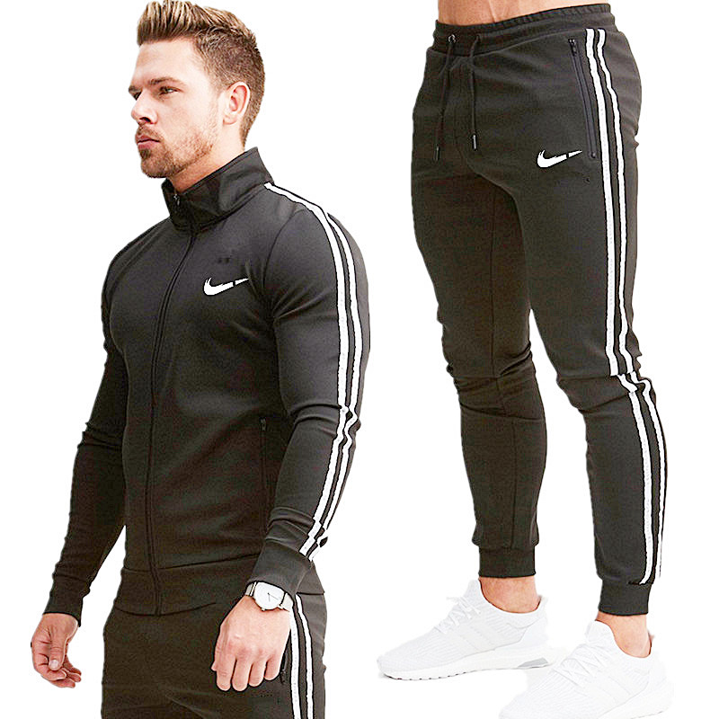 New Stand Collar Zipper Men's Sweatshirt Sportswear + Men's Sweatpants Fitness Jogging Sportswear Suit Men's Sportswear
