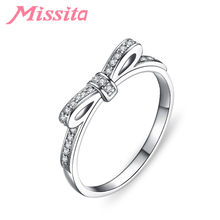 MISSITA 2019 New Silver Romantic Bowknot Rings for Women with Clear Crystal Valentine Day Gift Wedding Brand Jewelry