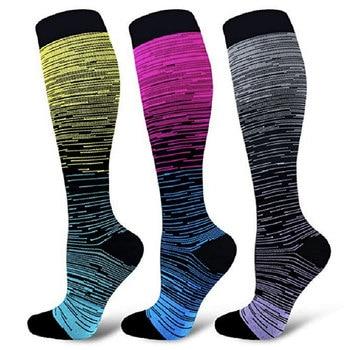 Compression Socks Men Women Nylon Yarn Outdoor Sports High Long Tube Stockings Running Happy Dot Marathon Unisex Fun