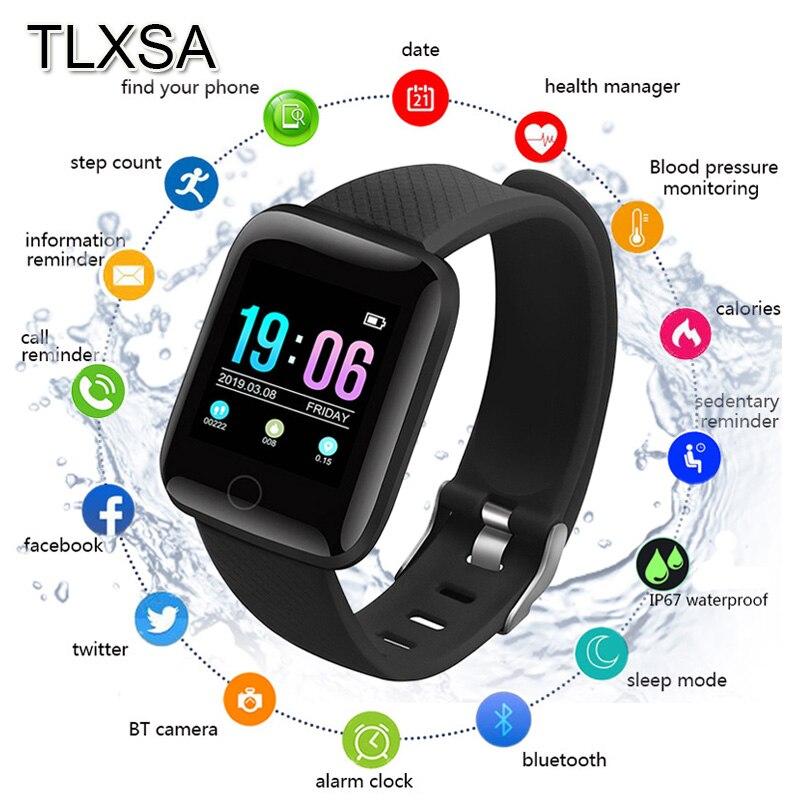 TLXSA podómetro deportivo Bluetooth para niños reloj inteligente Monitor de sueño impermeable reloj inteligente para niños relojes de regalo D13 para Android Relojes de pulsera para mujer, marca de lujo, reloj de pulsera de acero plateado para mujer, reloj de pulsera de diamantes de imitación para mujer, reloj femenino, reloj femenino