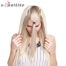Snoilite Fall to waist Long straight Clip in One Piece Hair Extension One Piece Real Natural hair Synthetic clip Extension hair(China)