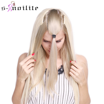 Snoilite Fall to waist Long straight Clip in One Piece Hair Extension Real Natural hair Synthetic clip - discount item  43% OFF Synthetic Hair