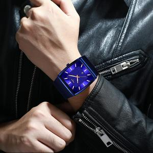 Image 5 - NIBOSI hommes montres haut de gamme de luxe bleu carré montre à Quartz hommes mince étanche or mâle montre bracelet hommes Relogio Masculino