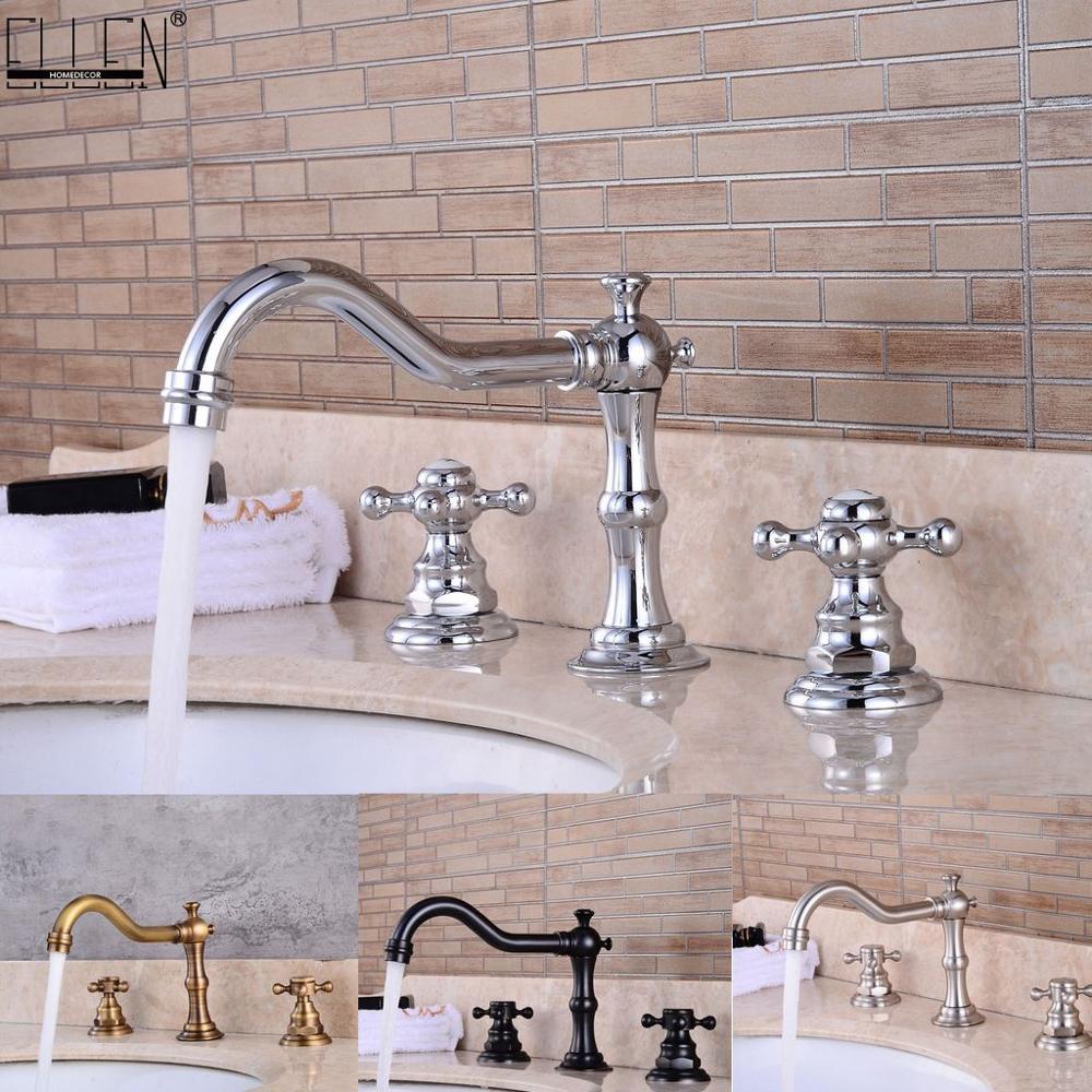 Powszechne Bathroom Sink kran z 3 otwór Deck Mounted podwójny uchwyt ciepłej zimnej mikser wody z kranu Brush nikiel chrom wykończone EL8001 1 w Baterie umywalkowe od Majsterkowanie na AliExpress - 11.11_Double 11Singles' Day 1