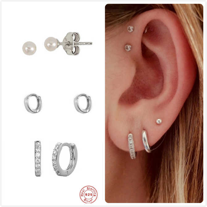 925 Sterling Silver Earrings For Women Punk Small Ear Bone Earrings Girl Gift Cartilage Pearl Earring Female Zircon aretes R5