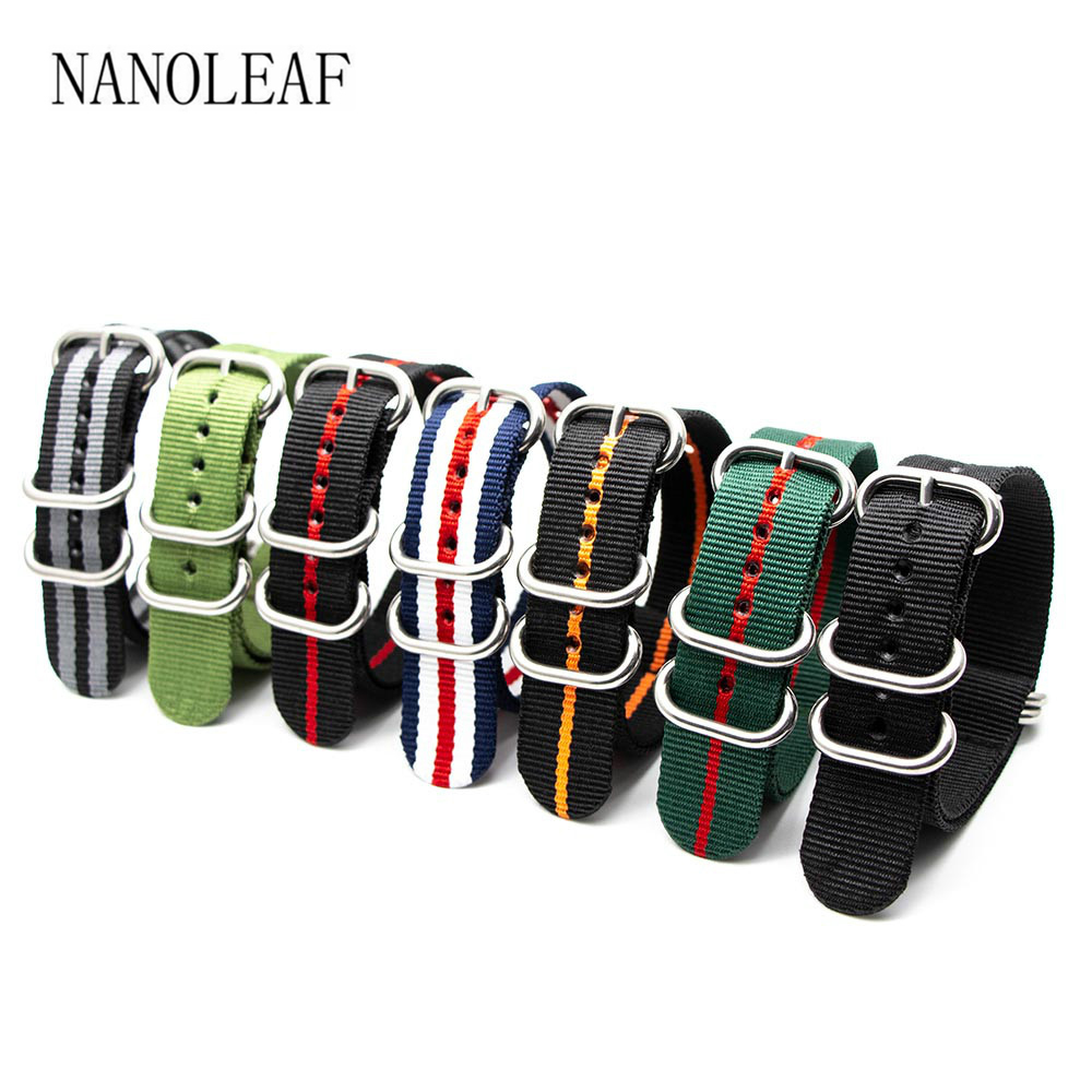 Nylon Braid Watch Strap For 18MM 20MM 22MM 24MM Watchband Silver 5 Rings Solid Color Striped Replacement Wristband