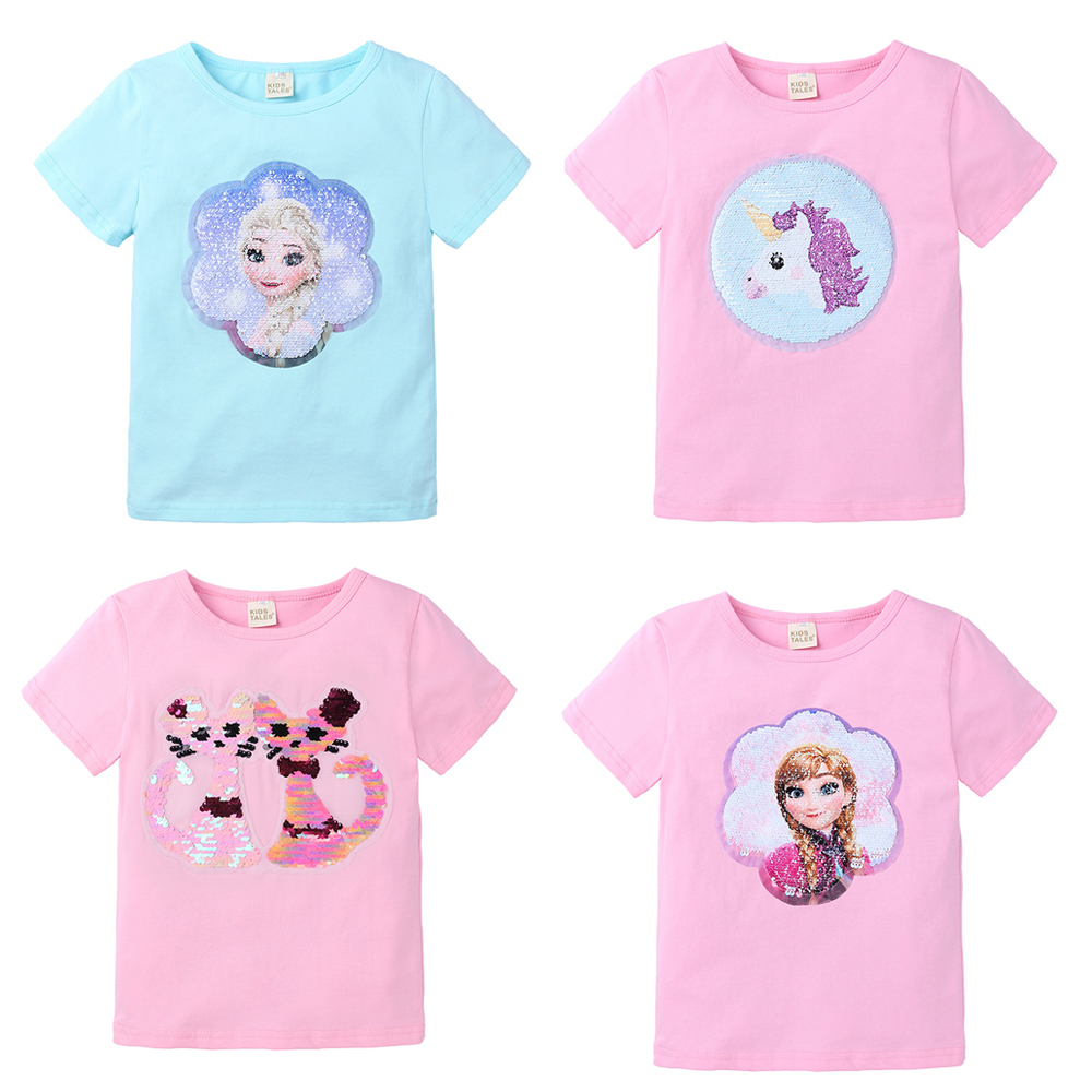 Baby Girls T-Shirts Children Tops Magic Sequin Reversible Clothing Cotton Casual Summer Fashion T Shirt Kids Cartoon Shirt