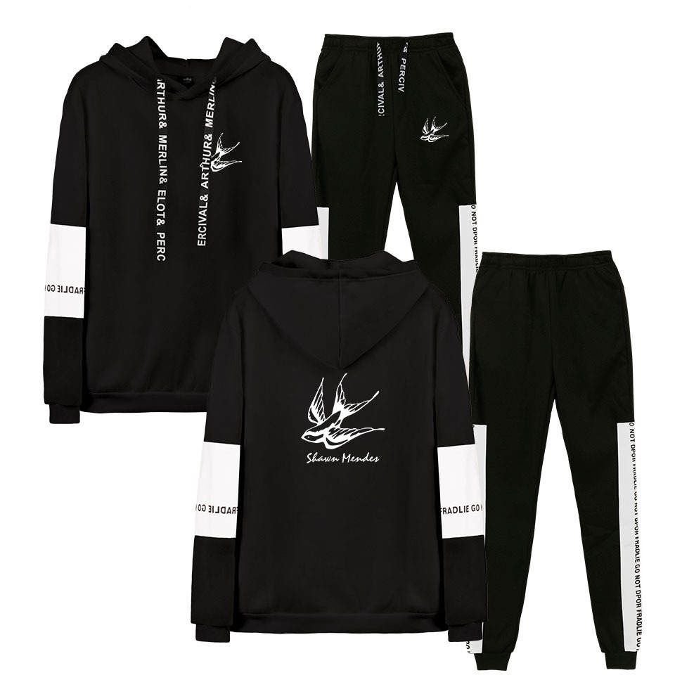 Hot Sales Sean Mongolian Dez Shawn Mendes, Men And Women-Joint Hoodie Ankle Banded Pants Set