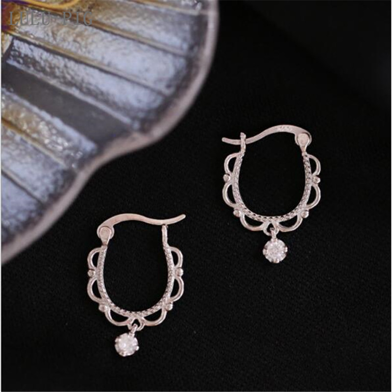LULU-PIG New User BONUS 2019 new retro-palace style light luxury art lace lace 925 pure silver earrings women CED006 image