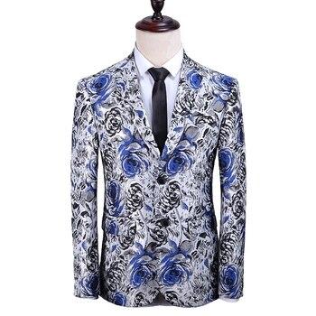New Arrival Floral Pattern Snowflake White Blazer Wedding Groom Tuxedo Singer Costume Slim Fit Jackets Suit
