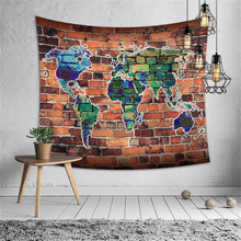 Retro Brick Stone Printed Wall Tapestry World Map Hippie Wall Cloth Tapestries Map Boho Decor Dorm Background Art Carpet Blanket brick scrawl waterproof wall art tapestry