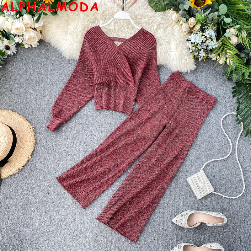 ALPHALMODA 2019 New Knitting Sexy V-collar Bat Sleeve Sweater + Broad-legged Trousers Bright Silk Women Knitting 2pcs Set