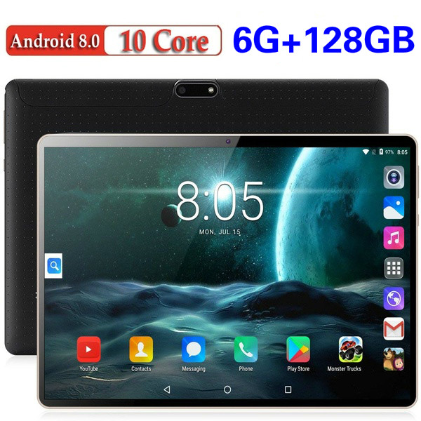 2020 Global Version 10.1 Inch Tablet 4G LTE Android 8.0 Octa Core IPS 2.5D Large Screen RAM 6GB ROM 128GB GPS WIFI Tablet 10