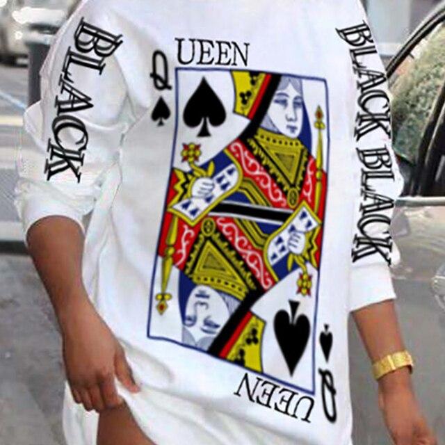 2021 Ladies Loungewear Round Neck Poker Letter Print Long Sleeve Plus Size Women Clothing Street Style Winter Casual Dresses 6