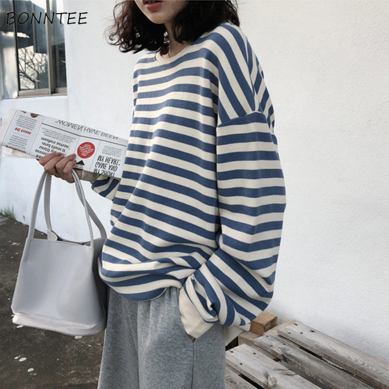 Hoodies Women Thin 2019 New Spring Autumn Korean Style Stripe Loose Large Simple Ulzzang Harajuku All-match Womens Clothing Chic