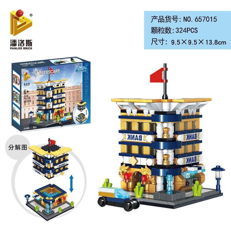 Mini Lego City Street View Block Retail Store Restaurant DIY Building Blocks Compatible lego technic Tech Building kids Toys - Цвет: 657015
