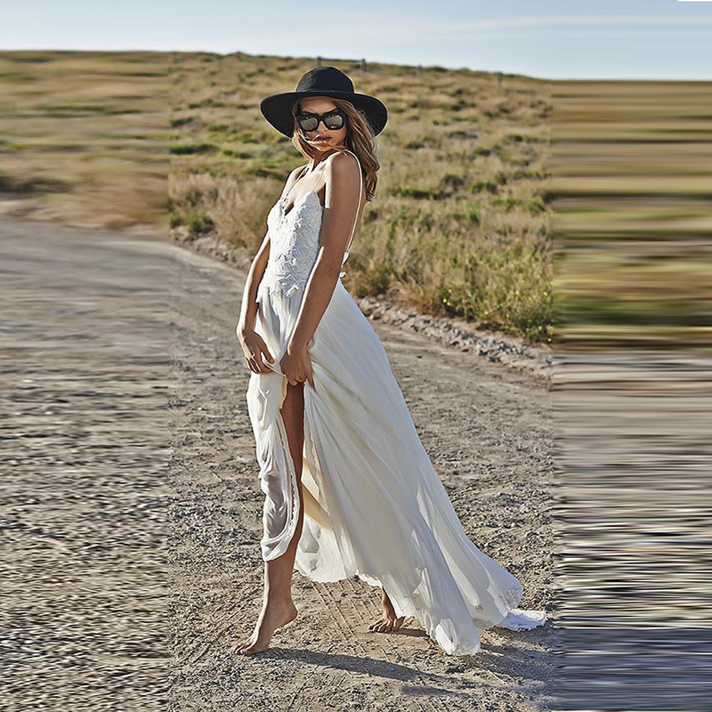 Bohemian Lace Beach Spaghetti Strap Vestido De Noiva Open Back Robe De Mariage Sexy Party Bridal Gown 2018 Bridesmaid Dresses