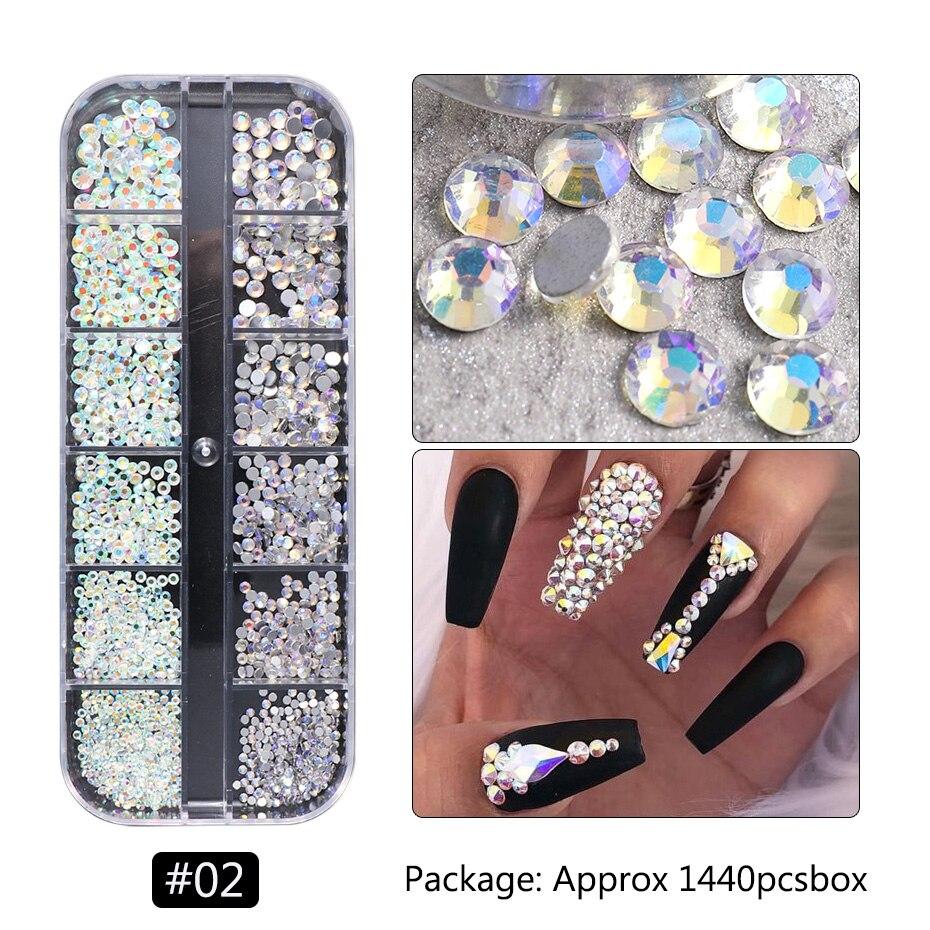 1440pcs Colorful Crystal Stones Nail Rhinestone Diamond 3D Flatback Glitter Strass Gems Nail Art Decorations Accessories 4