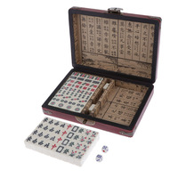 Mini Mahjong Traditional Chinese Version Game Set with Portable Wodoen Box Mah Jongg Travel Family Leisure Time