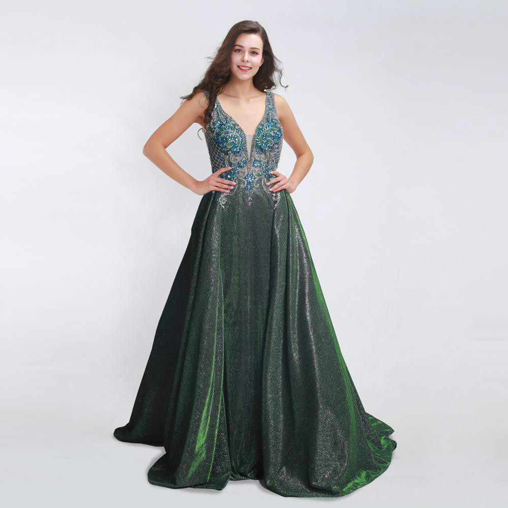 Prom     Dresses   Elegant Long 2019 Sexy V-neck Backless Beading Shiny A-line Evening Gowns Plus Size