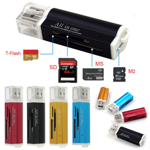 4 In 1 USB 2.0 Lighter Shape Card Reader Aluminum Alloy Shell High Speed Memory Card Reader Portable Support M2, MS/MS PRO Etc.