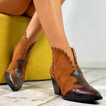 2019 Female Autumn Winter Lace PU Leather Cowboy Ankle Boots Women Wedge High Heel Booties Snake Print Western Cowgirl Boot
